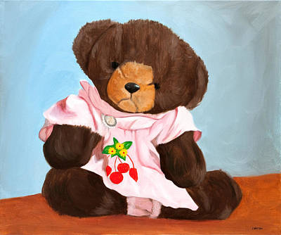Teddy Bear Painting - Gail Bear With Edelweiss Pin by Phillip Compton