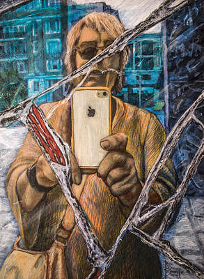 Painting - Gail Padgett And Broken Mirror by Ron Richard Baviello