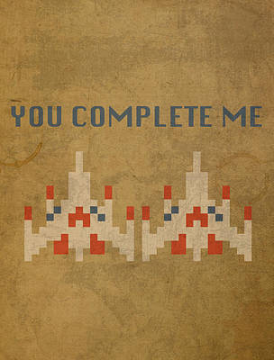 Vintage Video Game Mixed Media - Galaga Vintage Video Game Art You Complete Me by Design Turnpike