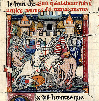 Galahad And Gawain In Tournament Art Print by British Library