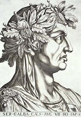 Engraved Art Drawing - Galba Caesar  by Italian School