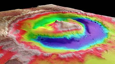 Elevation Photograph - Gale Crater by European Space Agency/dlr/fu Berlin (g. Neukum)