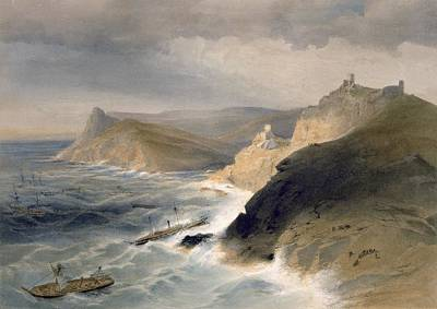 Coastal Landscape Drawing - Gale Off The Port Of Balaklava by William 'Crimea' Simpson
