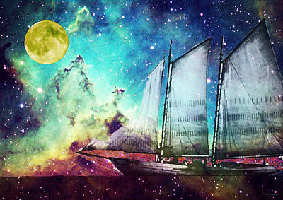 Outer Space Mixed Media - Galileo's Dream - Schooner Art By Sharon Cummings by Sharon Cummings