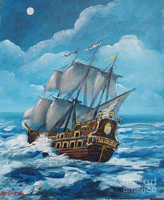Galleon At Night Art Print