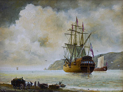 Tall Ships. Pirates Ships Painting - Galleon In The Sea by Andre Araujo