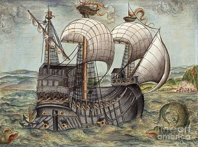 Galleon Sails To Venezuela, 16th Century Art Print
