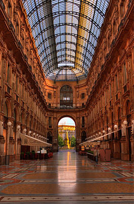 Photograph - Galleria Early Morning Milan Italy by Bob Coates