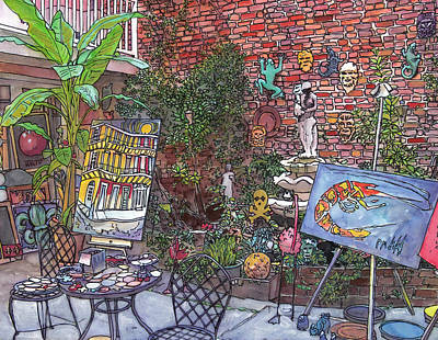 Garden District Painting - Gallery Courtyard 442 by John Boles