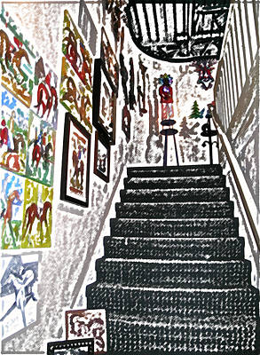 Digital Art - Gallery Stairs by Kathleen Stephens