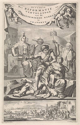 Reform Drawing - Gallia And The French Catholic Church Watch How by Jan Luyken And Jan Claesz Ten Hoorn
