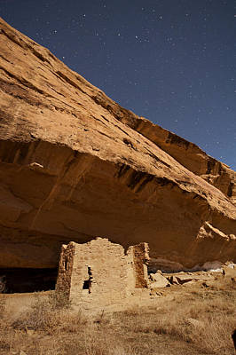 Photograph - Gallo Cliff Dwelling Under The Bright Moon by Melany Sarafis