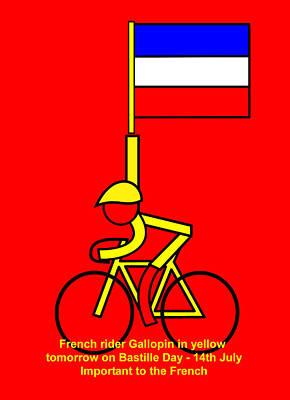 Digital Art - Gallopin In Yellow Tomorrow On Bastille Day by Asbjorn Lonvig