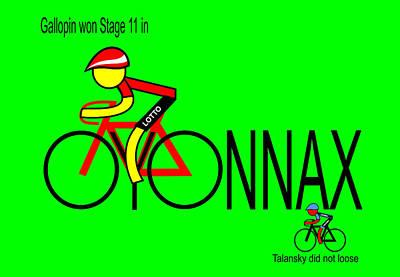 Digital Art - Gallopin Won Stage 11 In Oyonnax by Asbjorn Lonvig