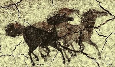 Prehistoric Drawing - Galloping Horses by Dragica  Micki Fortuna