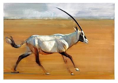 Wild Animals Painting - Galloping Orynx by Mark Adlington