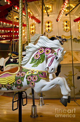 Art Print featuring the photograph Galloping White Beauty - Vintage Carousel Horse by Maria Janicki