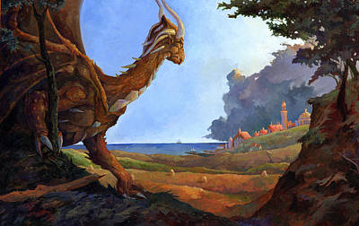 Galversharn The Dragon Looking For Her Eggs Art Print by Storn Cook