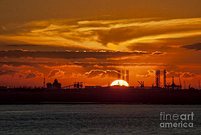 Art Print featuring the photograph Galveston At Sunset by Shirley Mangini