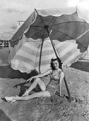 Swimsuit Photograph - Galveston Beach Girl by Underwood Archives