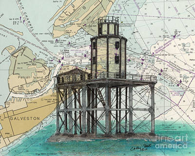 Galveston Painting - Galveston Jetty Lighthouse Tx Nautical Chart Map Art by Cathy Peek