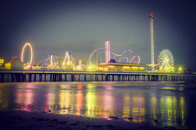 Galveston Pier Colors Art Print by Ray Devlin