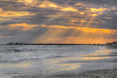 Galveston Rays Of Sunshine Art Print by Ray Devlin