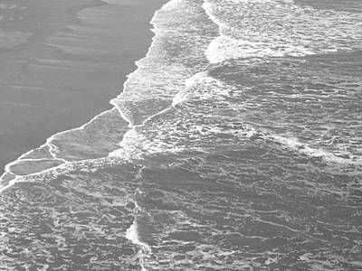 Photograph - Galveston Tide In Grayscale by Connie Fox