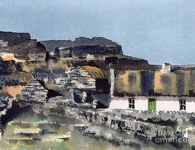 Painting - Galway Aran Inismore Rockscape by Val Byrne