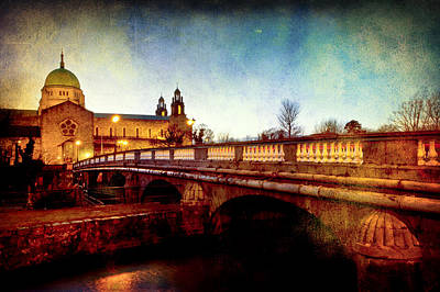 Photograph - Galway Cathedral And The Salmon Weir Bridge by Mark Tisdale