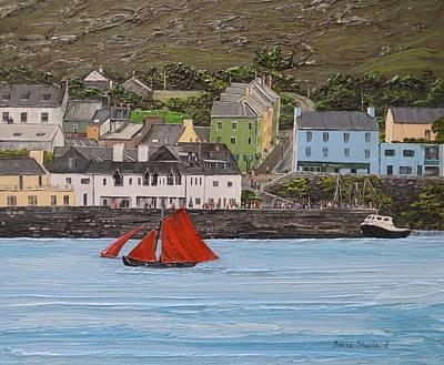 Galway Hooker Sailing Past Roundstone Connemara Ireland Art Print by Diana Shephard
