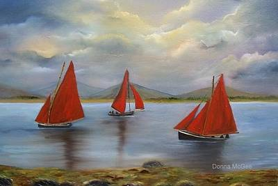 Currach Painting - Galway Hookers by Donna McGee
