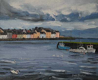 Painting - Galway Swan The Long Walk Galway Ireland by Diana Shephard