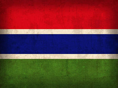Gambia Flag Vintage Distressed Finish Art Print by Design Turnpike