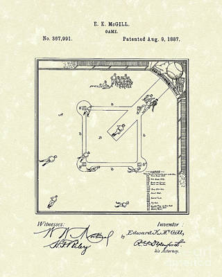 Game 1887 Patent Art Art Print by Prior Art Design