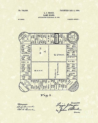 Parlor Drawing - Game Board 1904 Patent Art by Prior Art Design