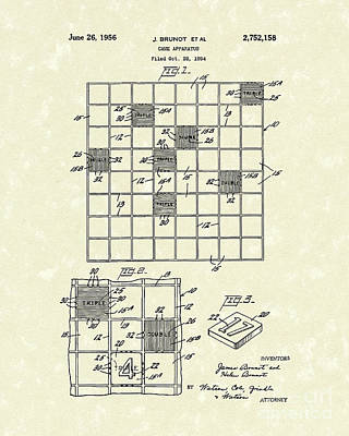 Drawing - Game Board 1956 Patent Art by Prior Art Design