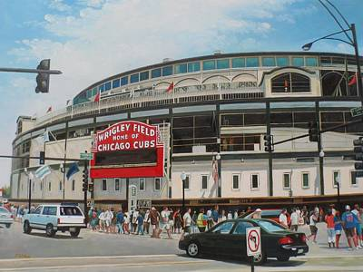 Baseball Scene Painting - Game Day At Wrigley by Steve Wilson