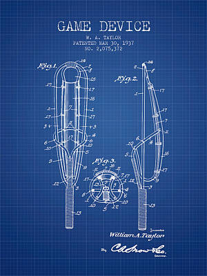 Player Digital Art - Game Device Patent From 1937- Blueprint by Aged Pixel