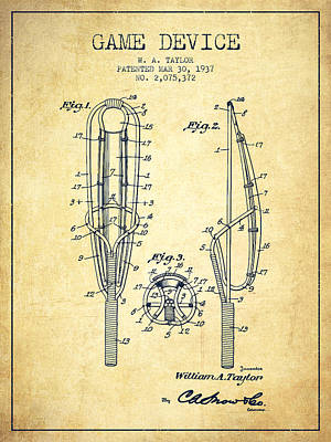 Player Digital Art - Game Device Patent From 1937- Vintage by Aged Pixel