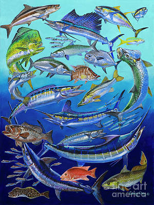 Blue Marlin Painting - Gamefish Collage In0031 by Carey Chen