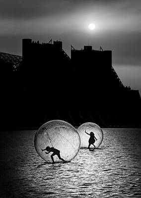 Water Play Photograph - Games In A Bubble by Juan Luis Duran