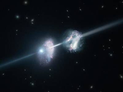Gamma-ray Burst And Galaxies Art Print by L. Calcada/european Southern Observatory/science Photo Library