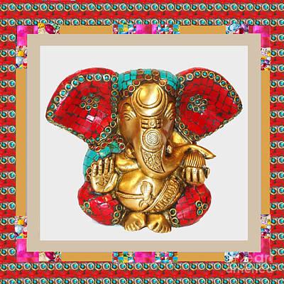 Painting - Ganapati Ganesh Idol Hinduism Religion Religious Spiritual Yoga Meditation Deco Navinjoshi  Rights M by Navin Joshi