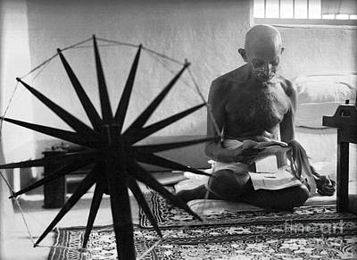 Rose - Gandhi at his Spinning Wheel by Celestial Images