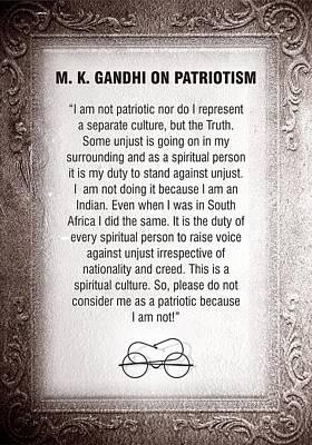 Giordano Bruno Digital Art - Gandhi On Patriotism by Chandrakanth Natekar