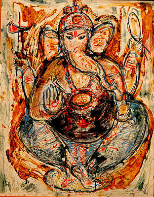 Art Print featuring the painting Ganesh- 7 by Anand Swaroop Manchiraju