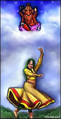 Ganesh Digital Art - Ganesh And Dancer Work In Progress by Carmen Cordova