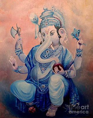 Diwali Painting - Ganesh by Mikhail Savchenko
