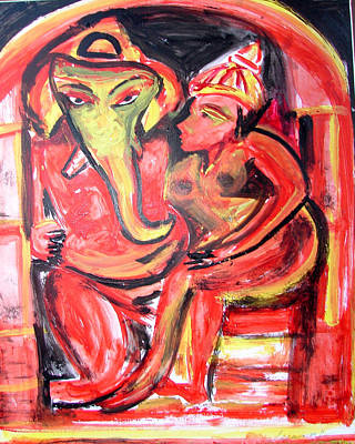 Painting - Ganesha-a7 by Anand Swaroop Manchiraju
